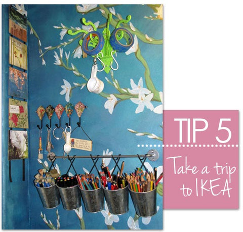Paint and pencil storage idea from Royal Design Studio Stencils