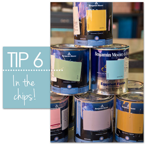 Paint chip idea for paint cans from Royal Design Studio stencils
