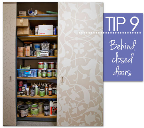 Paint closet storage idea from Royal Design Studio stencils