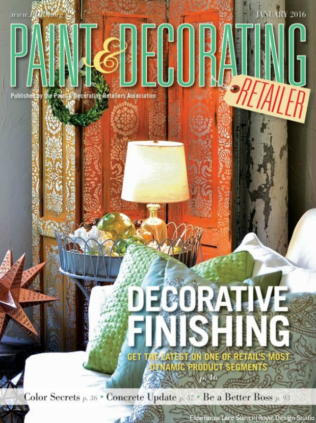 Design Trend: Royal Design Studio Furniture and Wall Stencils Covered in Paint & Decorating Magazine