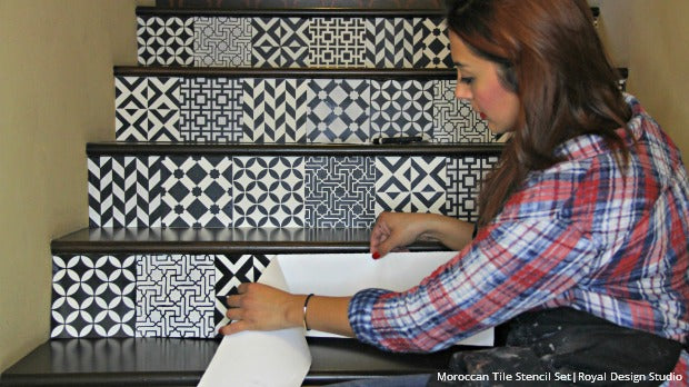 DIY Tutorial With VIDEO: Painting And Stenciling Stair Risers With Pattern  The Easy Way With