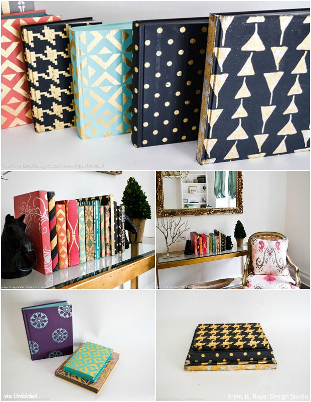 Painting & Stenciling Decorative Books - Craft Stencil Decor Ideas from Royal Design Studio