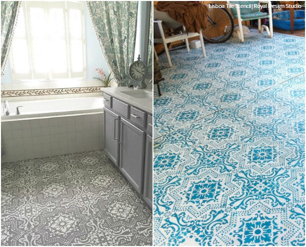 Design Challenge: Colorful vs Neutral Stencil Ideas using Floor Stencils from Royal Design Studio