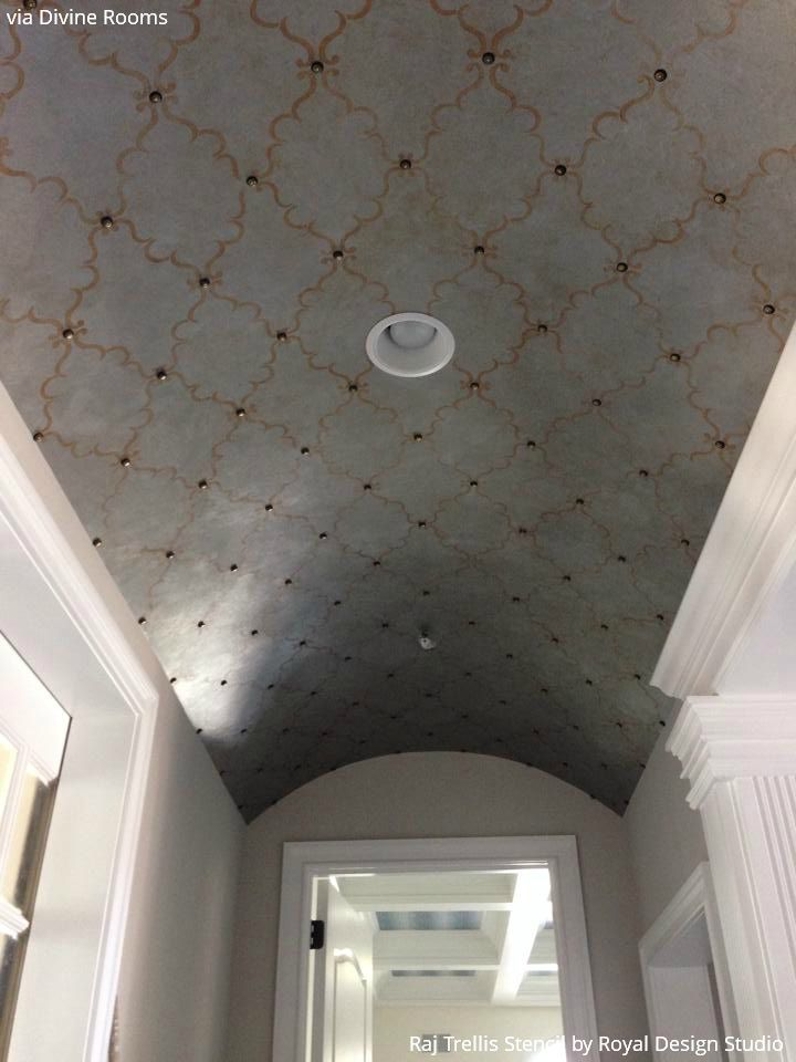 Ceiling stencils 10 elegant diy ideas to decorate your for Barrel ceiling ideas
