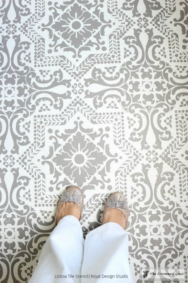 How to Prep and Paint a Concrete Floor with DIY Tile Stencils - Royal Design Studio Stencils Painted in Bedroom Makeover by The Crowned Goat