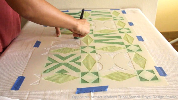 How to Stencil a DIY Shower Curtain That Anyone Can Make!