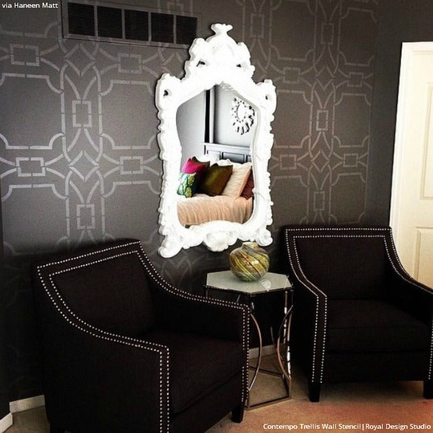 The Stylishly Stenciled Walls of Haneen's Haven - Royal Design Studio - Chic Wallpaper Wall Stencils Ideas for Your Home
