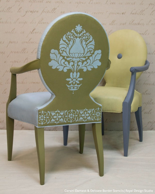 How To Stencil VIDEO Tutorial: Upcycle Upholstery With Chalk Paint And  Furniture Stencils From Royal