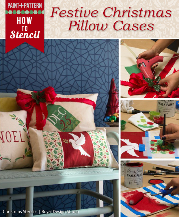 Christmas DIY Tutorial: Stenciled Pillows, Stockings, & Tree Skirt