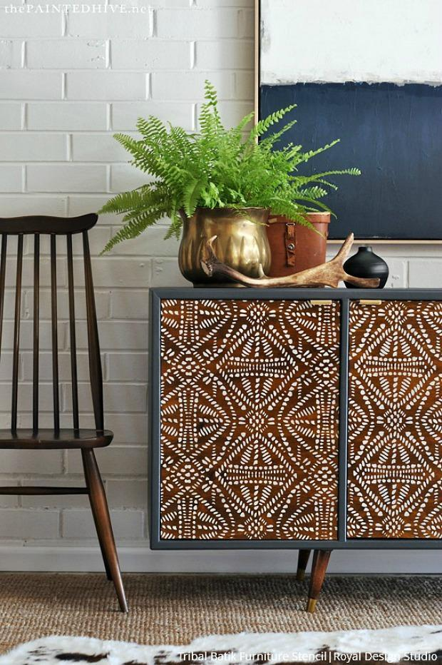 The BEST DIY Home Decor Hacks to Try: Paint Batik Fabric Designs with Wall Stencils & Furniture Stencils from Royal Design Studio