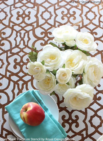 Stencil Decorating DIY Tutorial: Chez Sheik Stenciled Tabletop - Furniture Stencils by Royal Design Studio