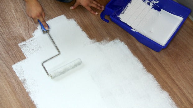 DIY Tutorial: How to Paint a Hardwood Floor with Tile Stencils from Royal Design Studio