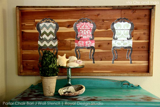 beautiful stenciled canvas art using Royal Design Studio stencils