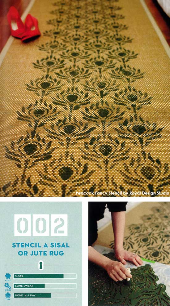 The Peacock Fancy Stencil from Royal Design Studio is one of their many furniture stencils perfect for smaller projects