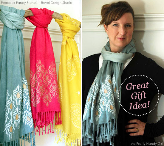 A Pretty Handy Girl Stencils Stylish Scarves as Holiday Gifts