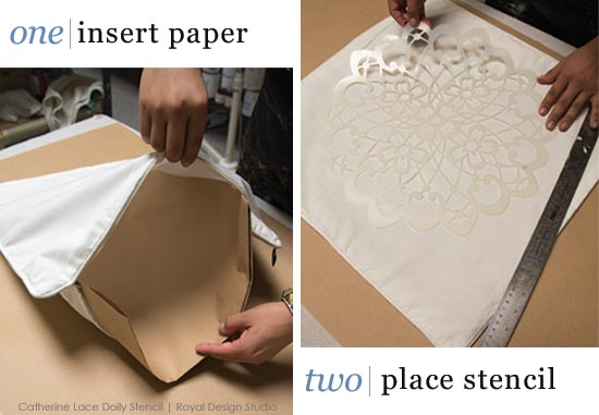 First steps for stenciling a lace doily stencil on a fabric pillow cover