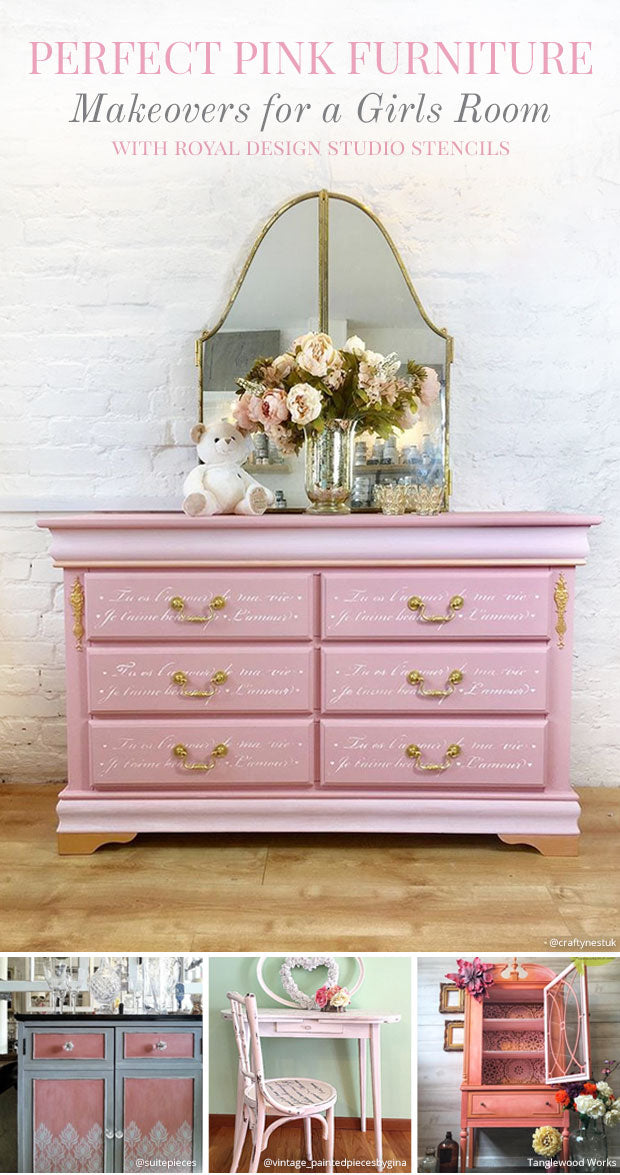 Perfect Pink Furniture Makeovers For A Girls Room Royal Design Studio Stencils