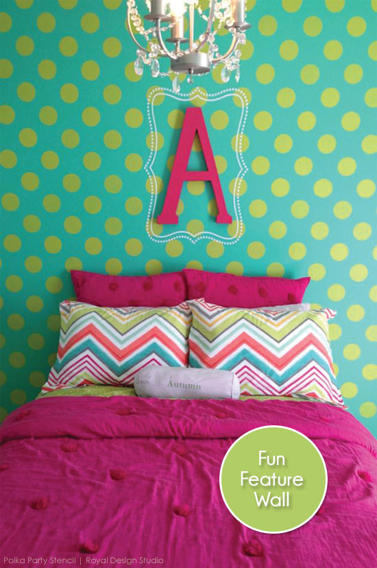 Polk dot pattern stencil in bright colors for a little girl's feature wall | Royal Design Studio Stencils