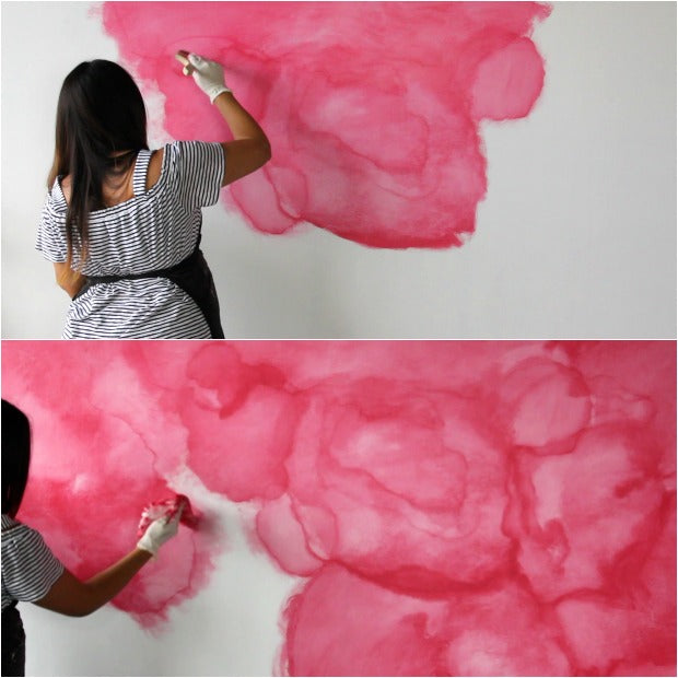 [VIDEO TUTORIAL] How to Stencil a DIY Watercolor Mural - Painting Pink Floral Wall Art with Large Wall Stencils from Royal Design Studio
