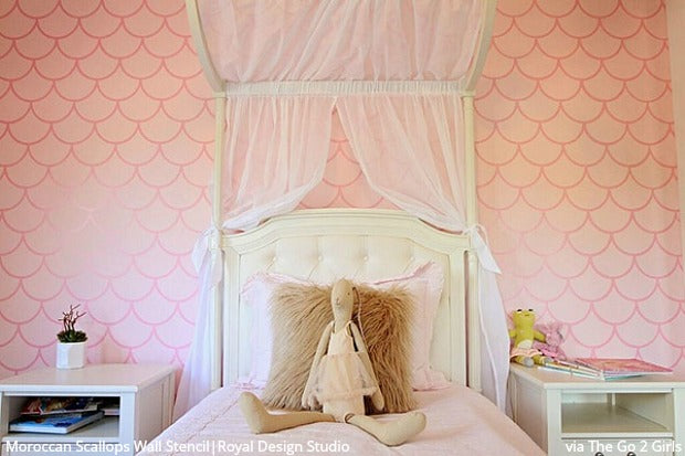 The #1 Thing You Need for a Mermaid Bedroom Wall Mural - DIY Home Decor Ideas - Fish Scale Tail Wallpaper Wall Stencils from Royal Design Studio Stencils