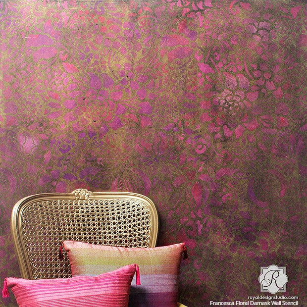 Bohemian Glam DIY Tutorial: How to Stencil a Metallic Foil Wall Finish with VIDEO - Royal Design Studio Wall Stencils