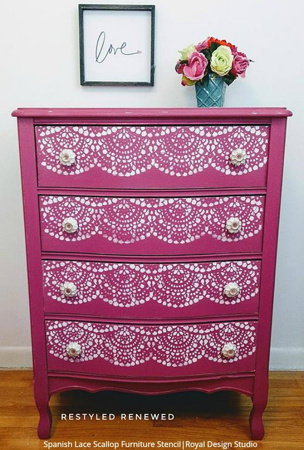 Perfect Pink Furniture Makeovers for a Girls Room - DIY Home Decor Ideas - Furniture Painting Stencils from Royal Design Studio