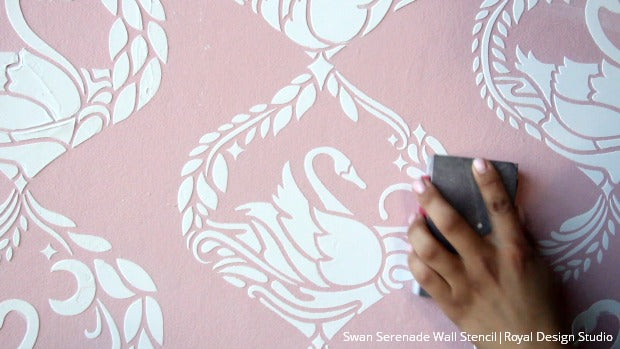 The Sweetest Stencil Embossing and Raised Pattern in 9 Easy Steps using Royal Design Studio Wallpaper Wall Stencils