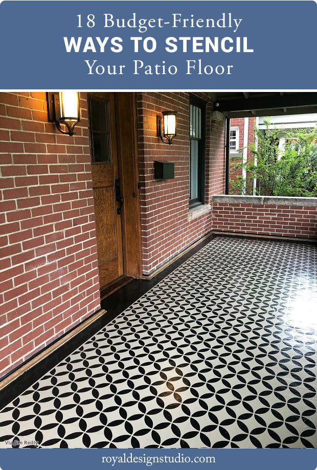 18 Budget-Friendly Ways to Stencil Your Patio Floor & 24 Budget Patio Floors using Paint Stencils Tile Stencils Floor ...