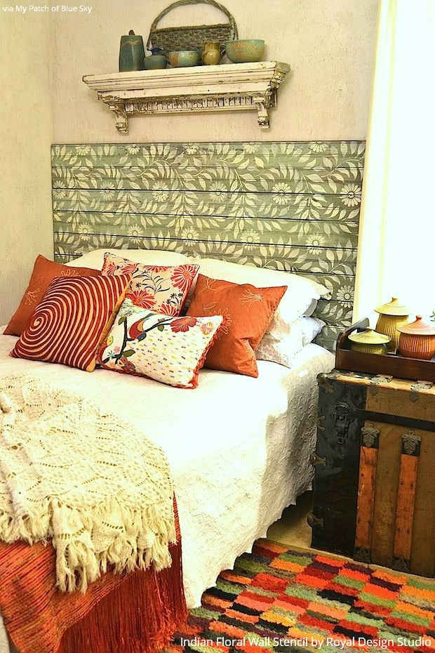 6 DIY Stenciled Headboard Ideas for Your Easy Bedroom Makeover : painted-headboard-on-wall-ideas - designwebi.com