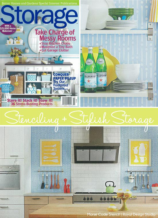 Kitchen wall stenciling in pretty blue and white using the Morse Code stencil from Royal Design Studio stencils.