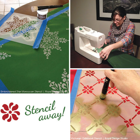 DIY Custom Stenciled Holiday Table Runners | Royal Design Studio