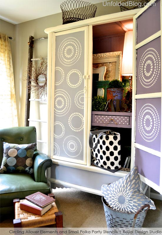 Painted Cabinet with Polka Party Stencils from Royal Design Studio