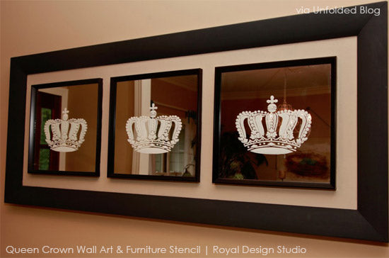 stenciled mirror and glass using Royal Design Studio pattern