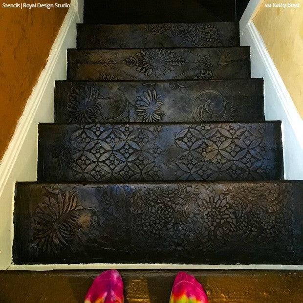 12 Stencil Ideas For Your Stairs Paint Stair Risers With Diy Design Royal Design Studio Stencils