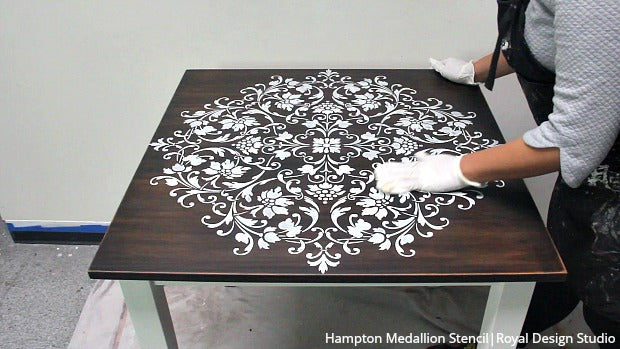 VIDEO Tutorial - Painted Wood Table Makeover with a Large Mandala Stencil Design and Chalk Paint