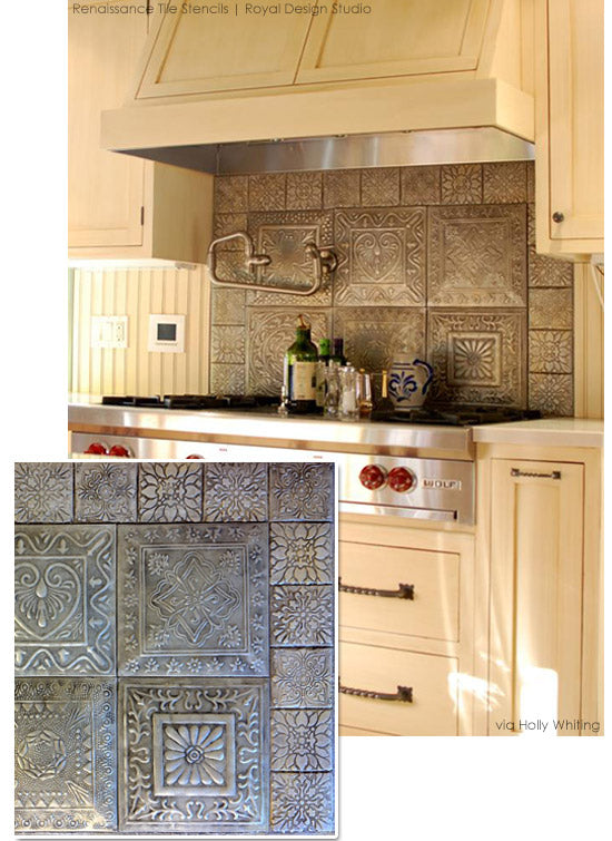 Create a faux tiled backsplash with Renaissance Tile Stencils | Royal Design Studio