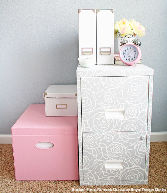 Rockin' Roses Damask Stencil on Stenciled Filing Cabinet | Project by Two Twent One Blog | Stencil by Royal Design Studio