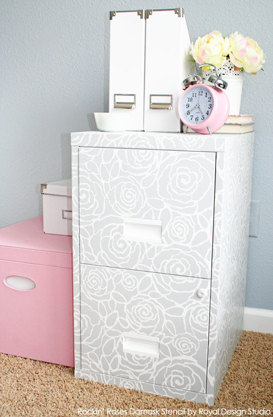 Stenciled File Cabinet with Rockin' Roses Damask by Royal Design Studio | Project by Chelsea of the Two Twenty One Blog