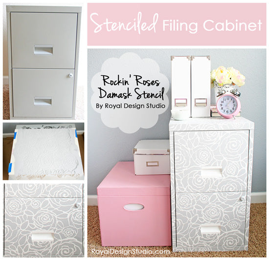Stenciled File Cabinet by Chelsea of the Two Twenty One blog with the Rockin' Roses Damask Stencil by Royal Design Studio