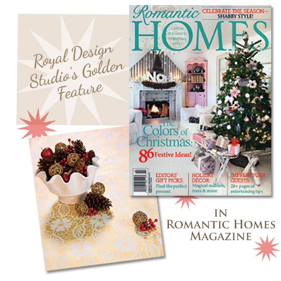 Romantic Homes features Royal Design Studio's Stenciled Holiday Tablecloth