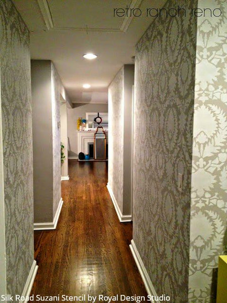 Hallway Makeover Idea: Change it Up with Wall Stencils Again and Again! - See more pictures of her painted hallway makeover here - Royal Design Studio