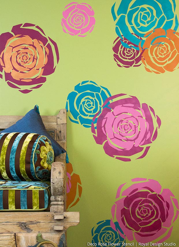 Stenciled Flower Power! Layer Rose Stencils for a Colorful Wall Art - Royal Design Studio Modern Art Deco Flower Stencils