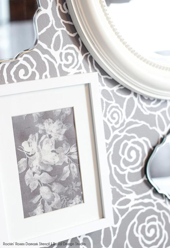Rockin' Roses Damask Stencil on Wall | Royal Design Studio