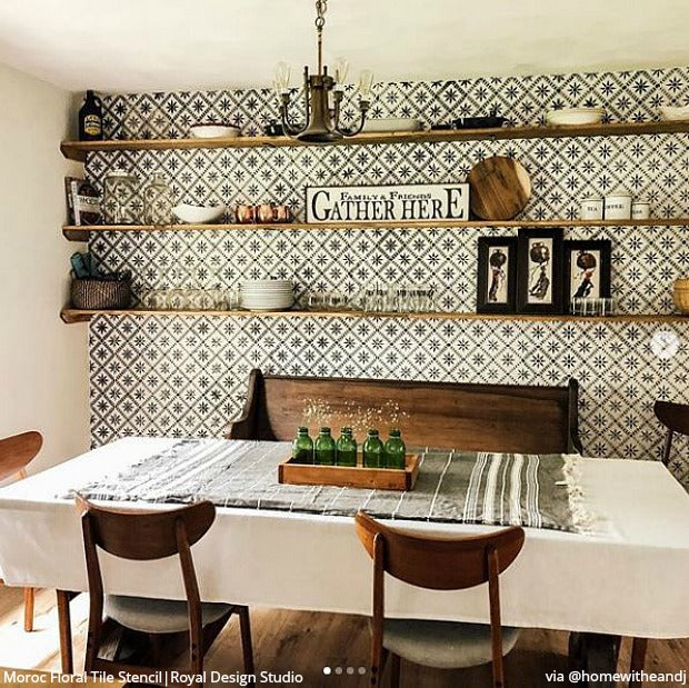 18 DIY Dining Room Ideas that You NEED to See - Wall Stencils & Floor Stencils for Painting from royaldesignstudio.com