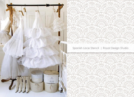 White on white decorating with the Spanish Lace stencil from Royal Design Studio