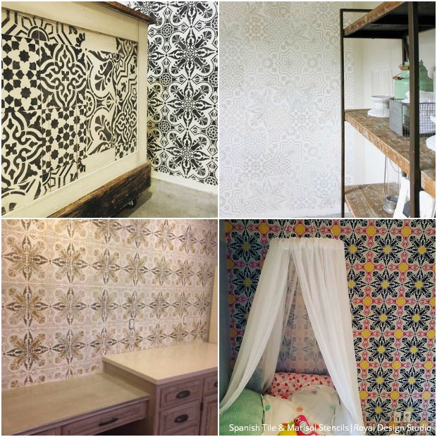 Looking for Insta-Inspiration for Your Next Stencil Project? Check out these gorgeous stenciled interiors! Royal Design Studio Stencils