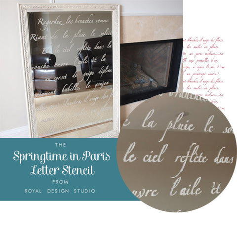 Springtime in Paris Lettering Stencil Transforms a Mirror | French-Inspired Ideas