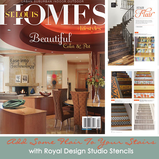 Royal Design Studio Stenciled Staircase Projects featured in St. Louis Homes & Lifestyles