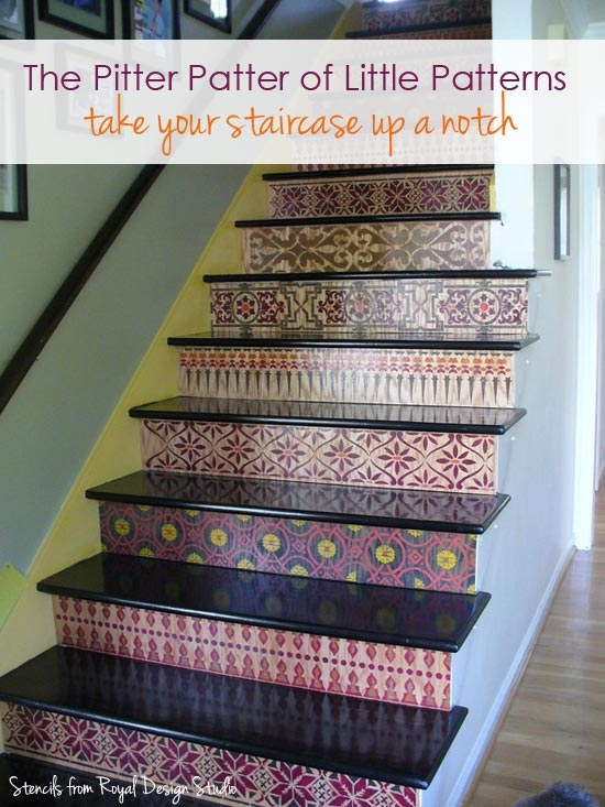 stenciled patterns on stairs with border stencils