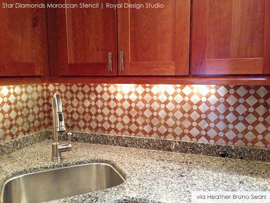 Stencil patterns decorate sink backsplash with style | Royal Design Studio
